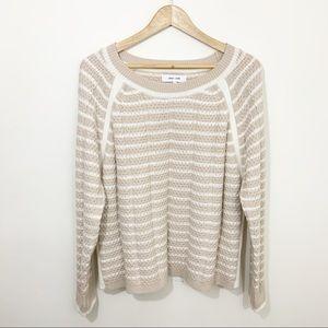 John + Jenn Anthropologie cream & white sweater  M